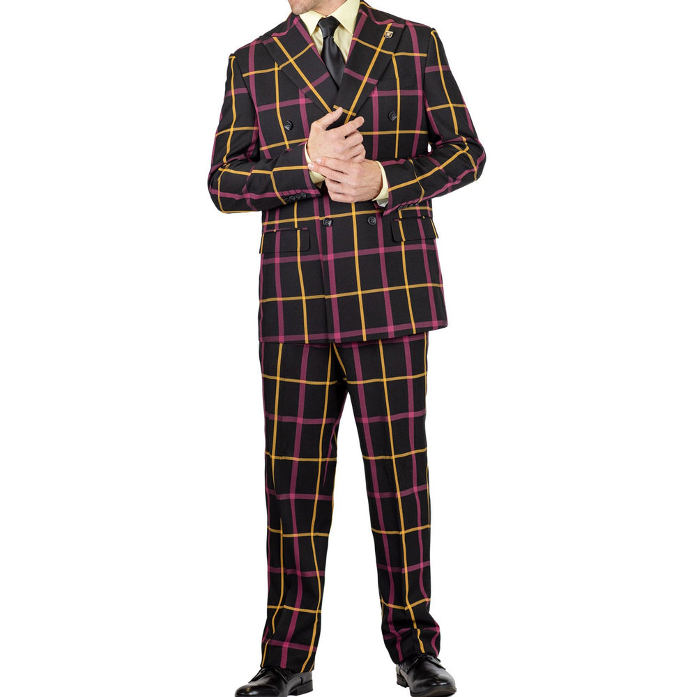 Windowpane Double Breasted Men's Suit