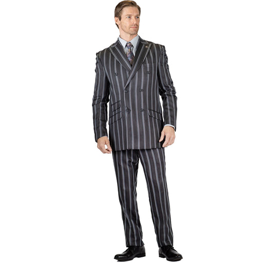 Stacy Adams Slam Double Breast Pinstripe Modern Fit Suit