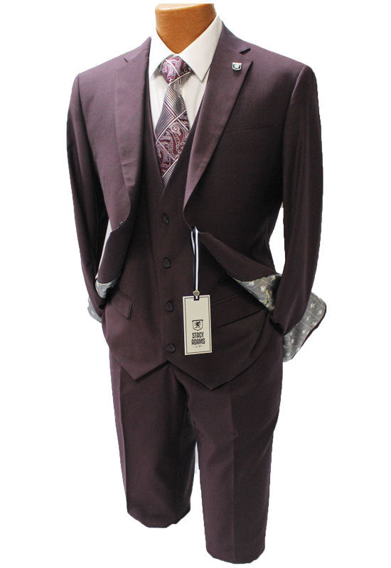Stacy Adams Bud Burgundy Vested Modern Fit Suit