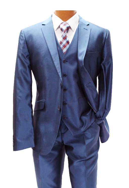 Profile Blue Sharkskin Vested Slim Fit Suit