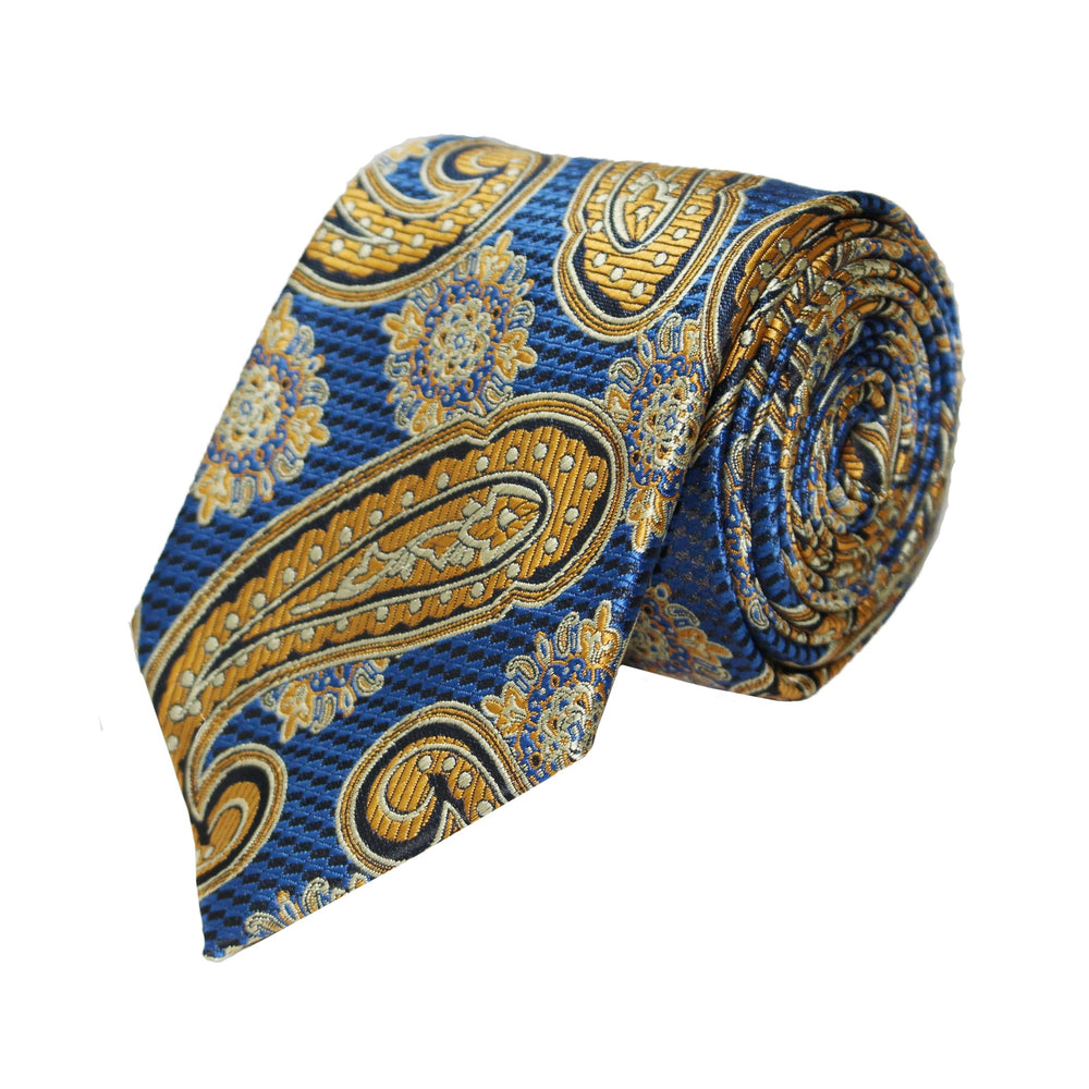 Gianfranco Blue and Yellow Paisley Tie and Handkerchief