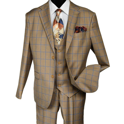 Falcone Bud Vested Gold Taupe Modern Fit Suit