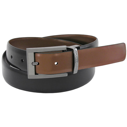 Stacy Adams Jasen Black and Cognac Engraved Buckle Reversible Belt