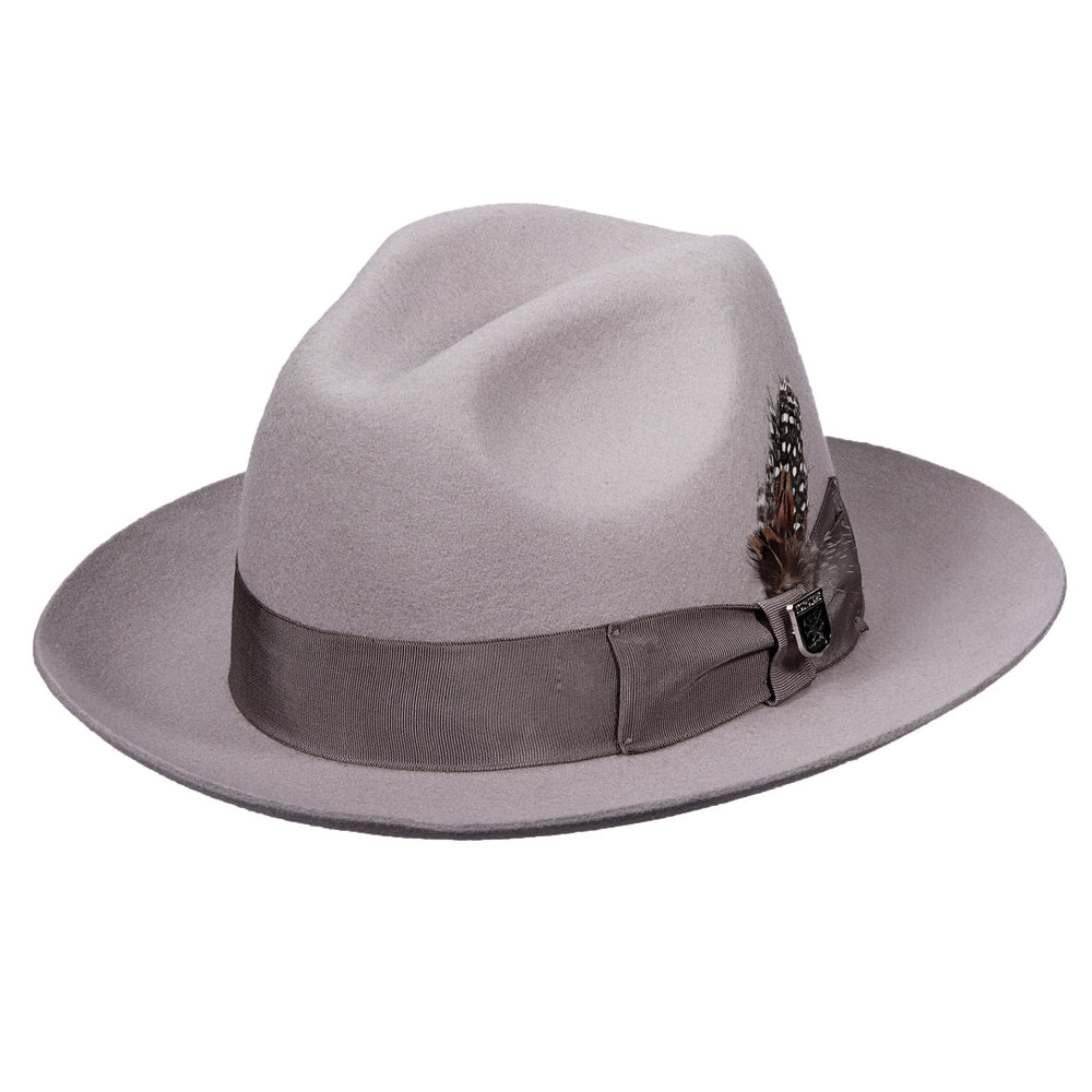 Light Grey Wool Felt Fedora Hat