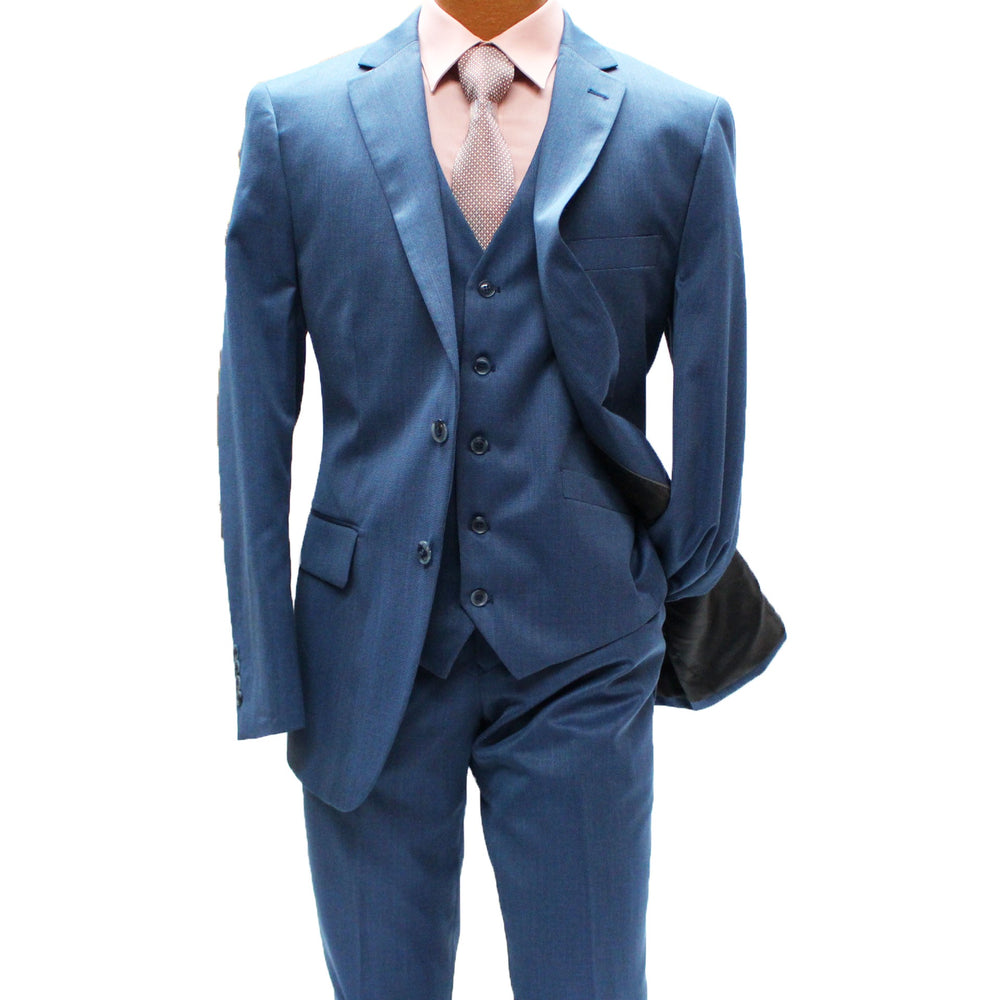 Angelo Rossi Blue Textured Vested Modern Fit Suit