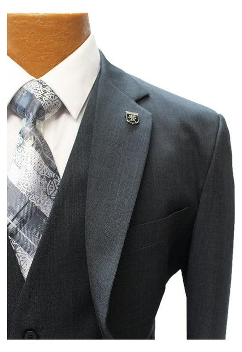 Stacy Adams Suny Charcoal Vested Classic Fit Suit