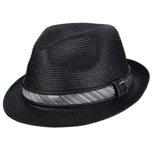 Stacy Adams Deanwood Black Poly Braid Fedora Hat