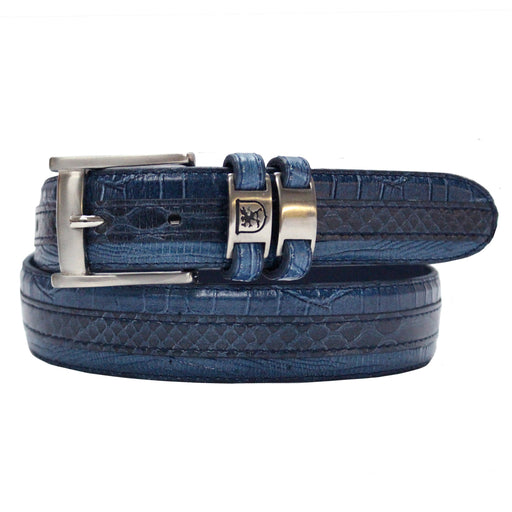 Stacy Adams Maes Blue Genuine Snakeskin Emboss Belt