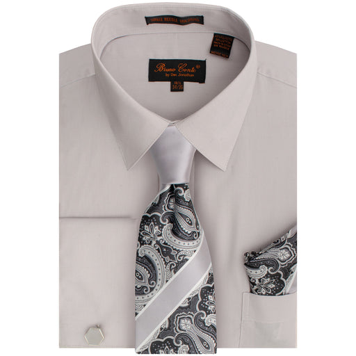 Bruno Conte 1091 Silver Regular Fit Dress Shirt Combo