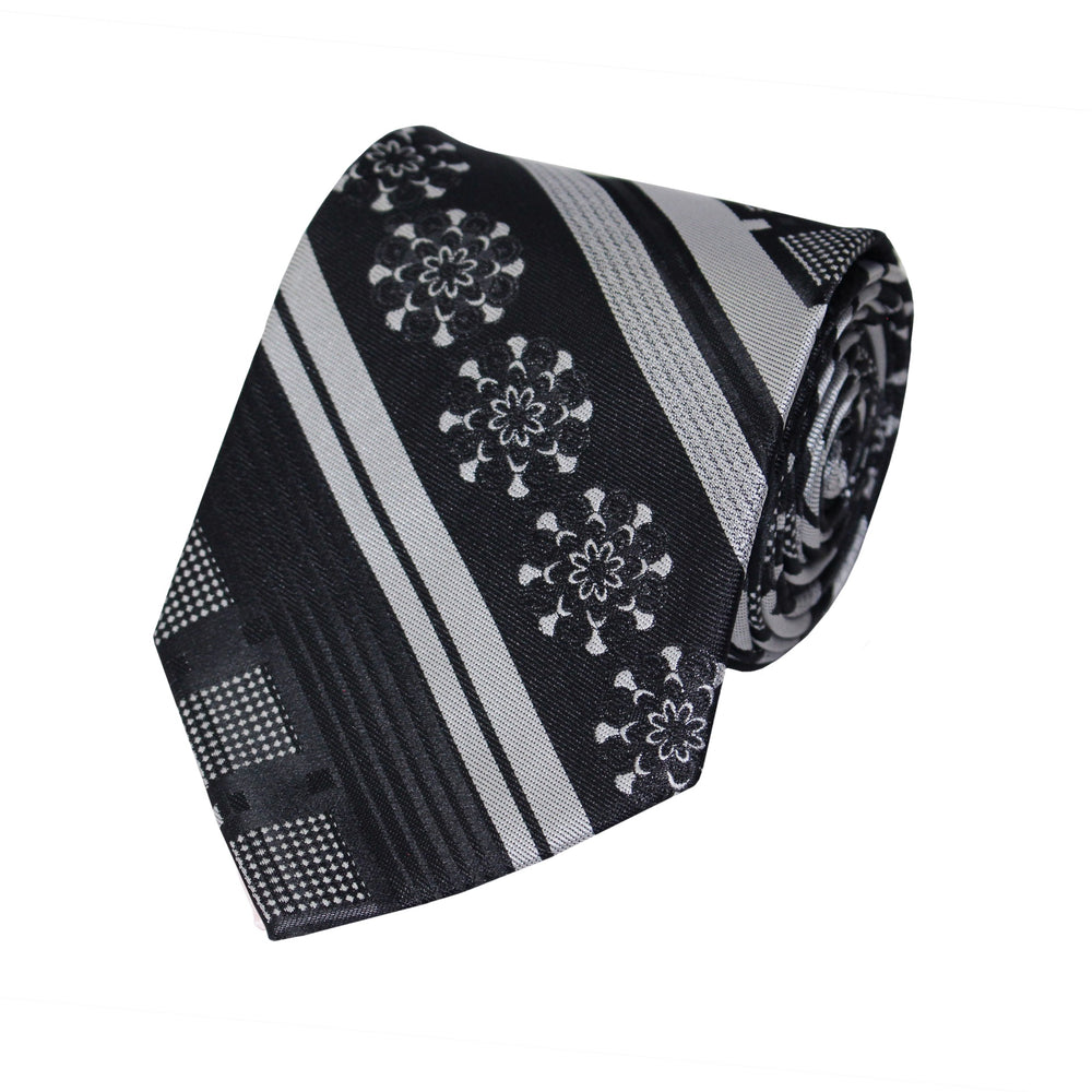 Black Gray Geo Diagonal Tie and Handkerchief
