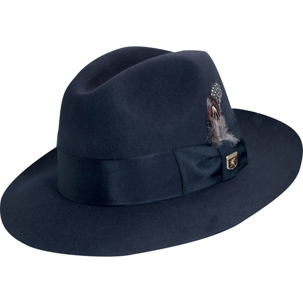 Stacy Adams Navy Blue Wool Felt Fedora Hat
