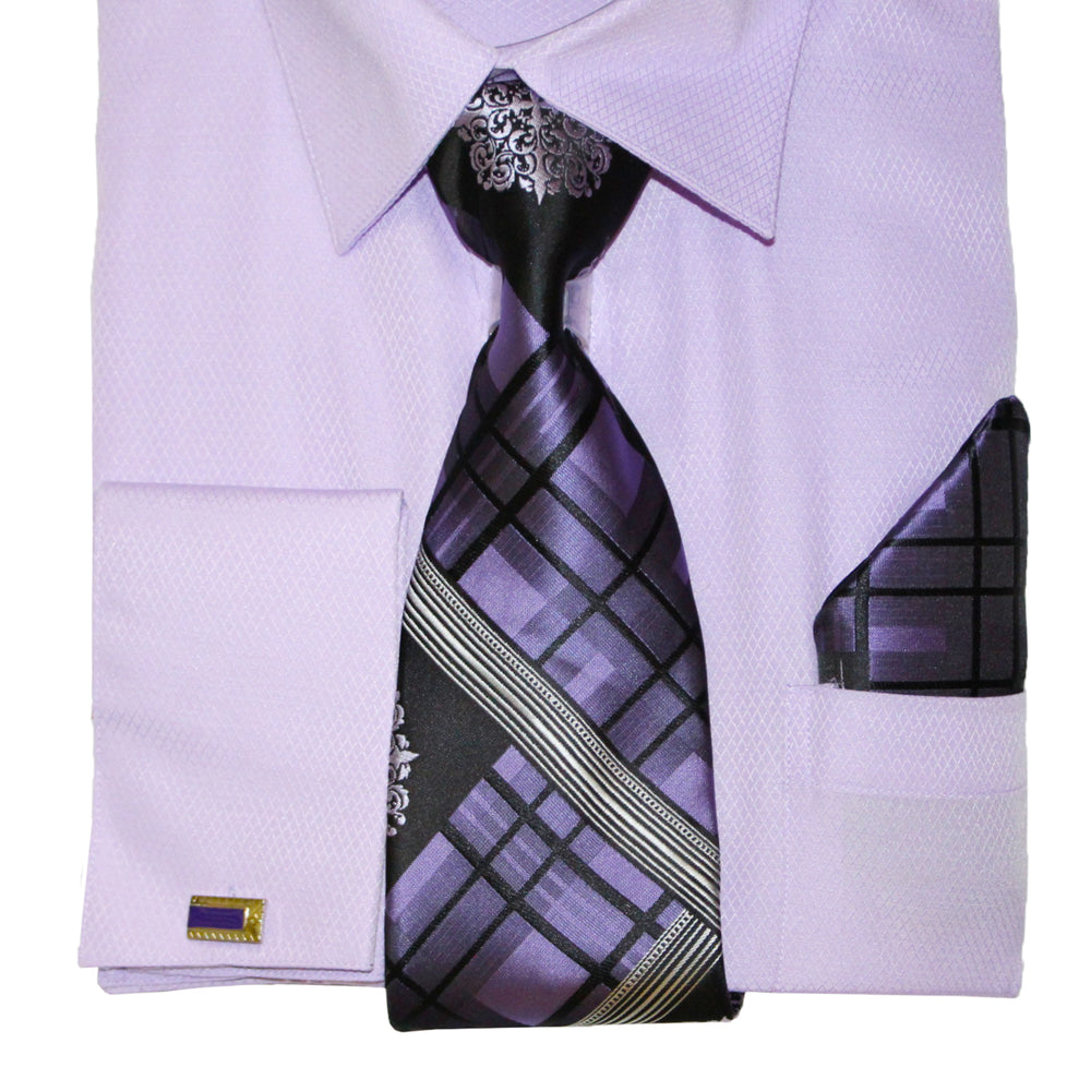 Bruno Conte 1075 Lilac Regular Fit Dress Shirt Combo