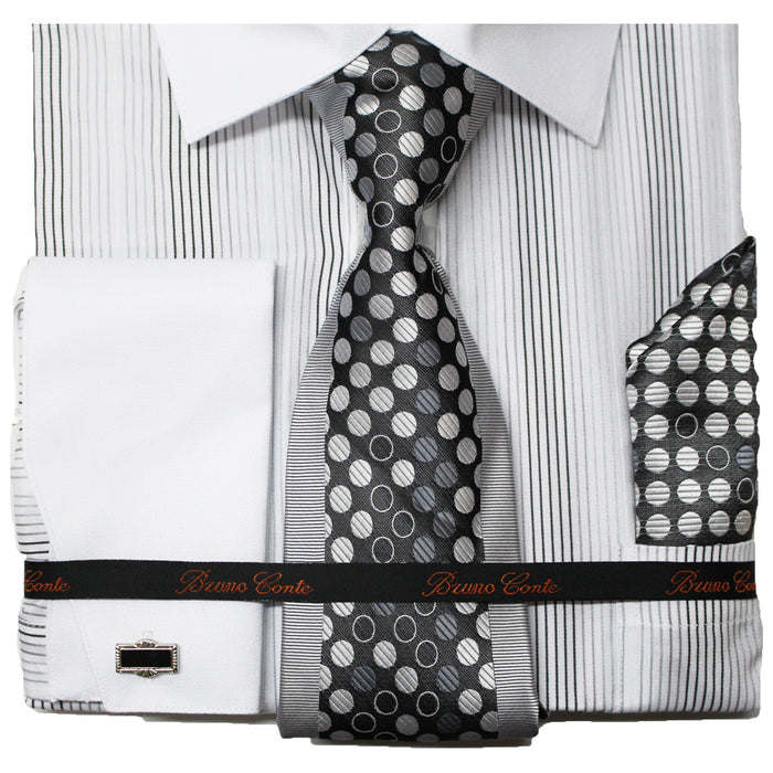 Bruno Conte White Pinstripe Regular Fit Dress Shirt Combo