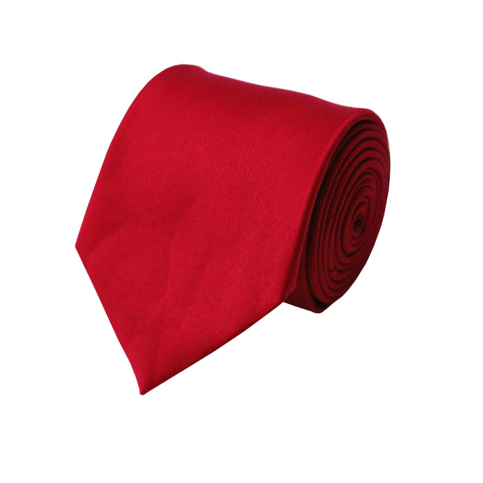 Stacy Adams Solid Fire Red Tie and Handkerchief