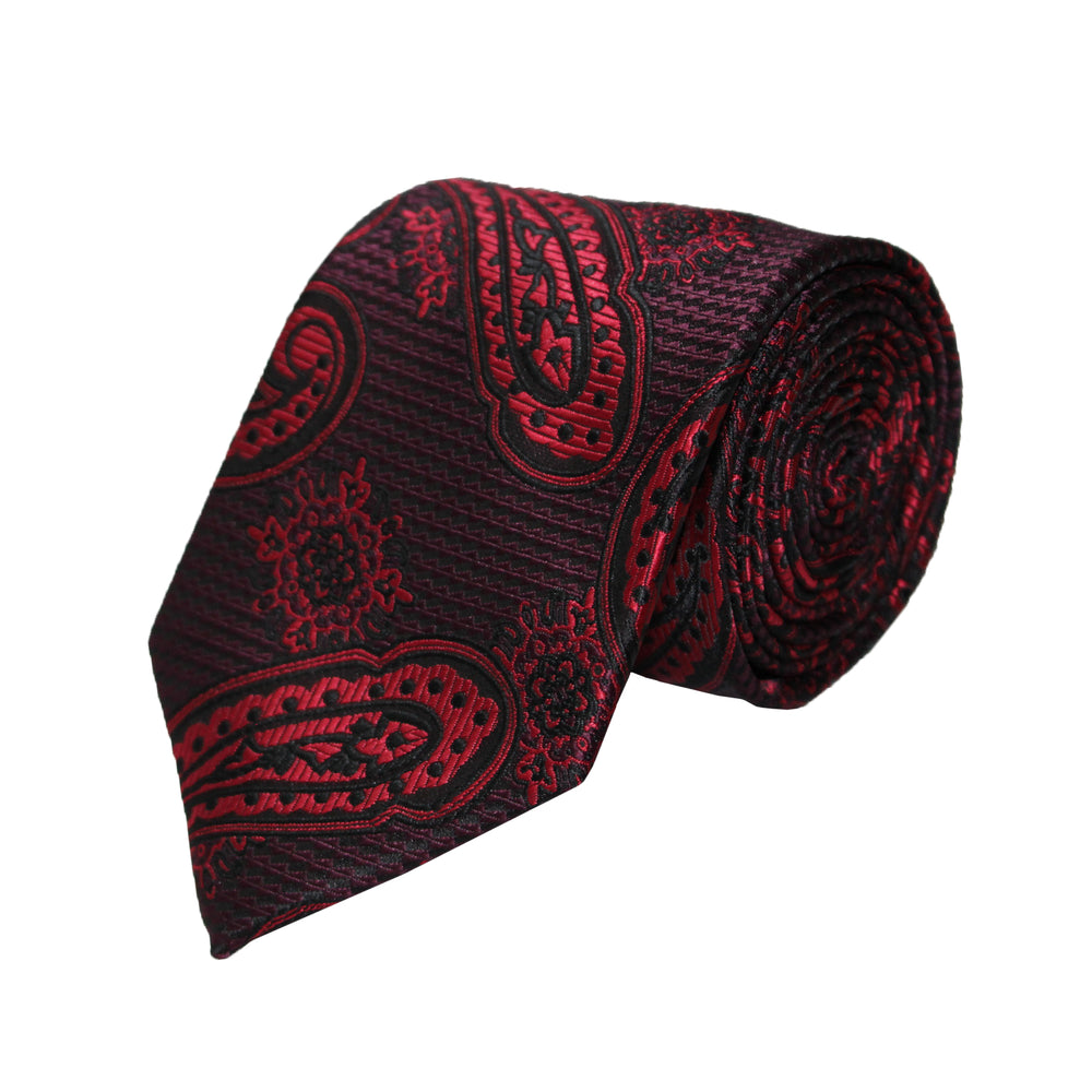 Gianfranco Red and Plum Tie and Handkerchief