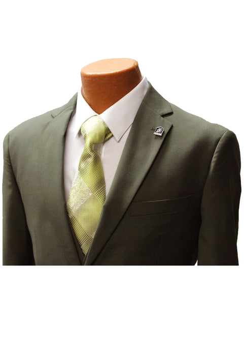 Stacy Adams Bud Olive Green Vested Classic Fit Suit