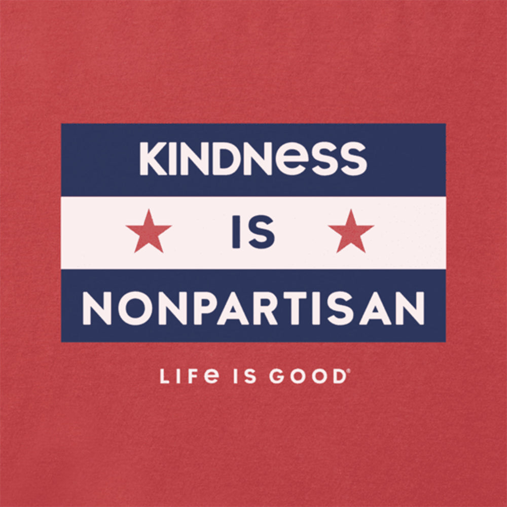 Life is Good Kindness is Nonpartisan Crusher Tee - Faded Red