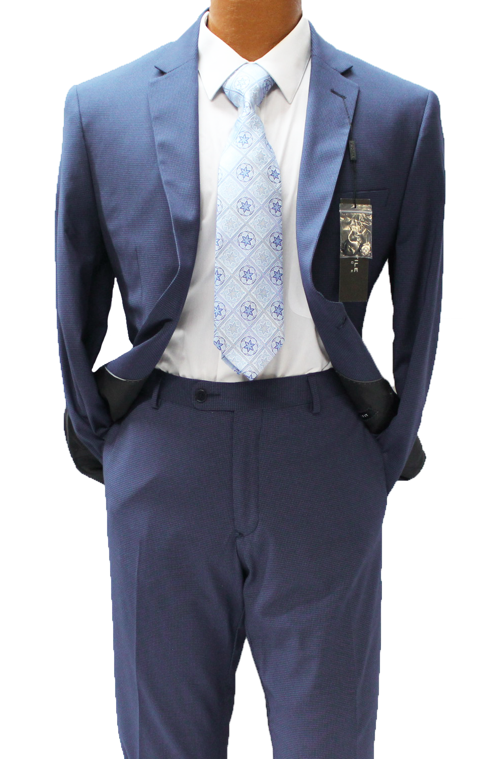 Profile Navy Blue Check Slim Fit Suit