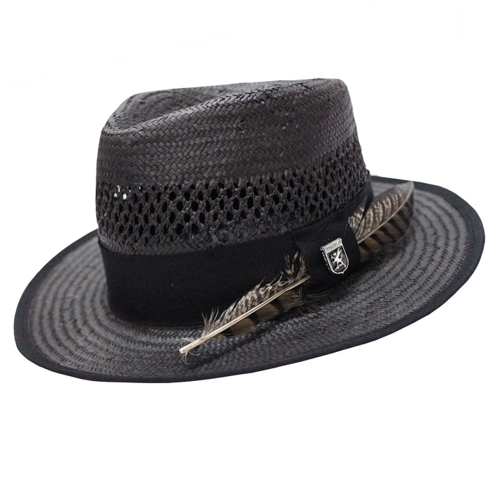 Stacy Adams San Francisco Black Toyo Fedora Hat