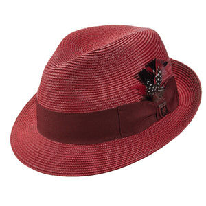 Stacy Adams 635 Red Poly Braid Pinch Front Fedora Hat