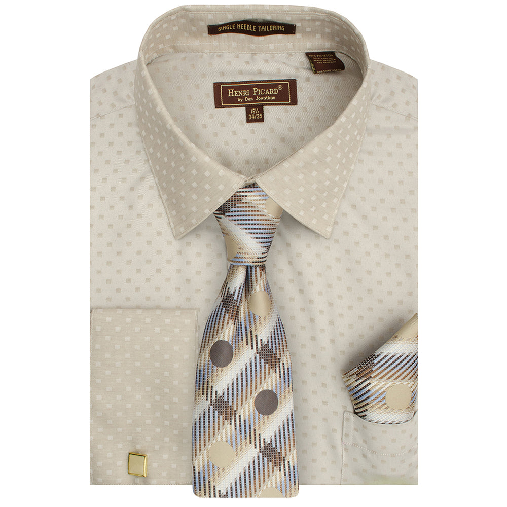 Henri Picard 163 Ivory/Taupe Regular Fit Dress Shirt Combo