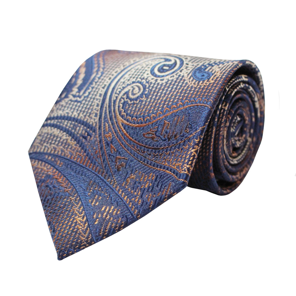 Venturi Uomo Blue and Orange Paisley Tie and Handkerchief