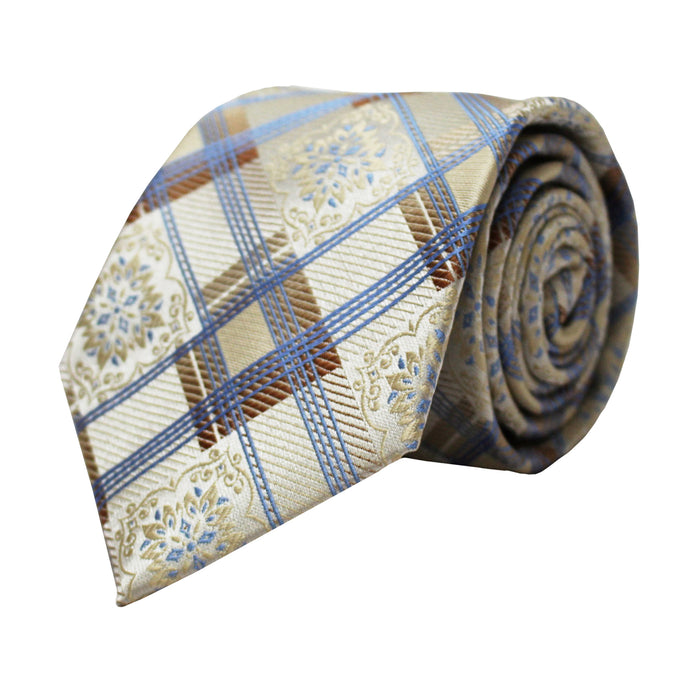 Venturi Uomo Beige and Blue Rhombus Tie and Handkerchief
