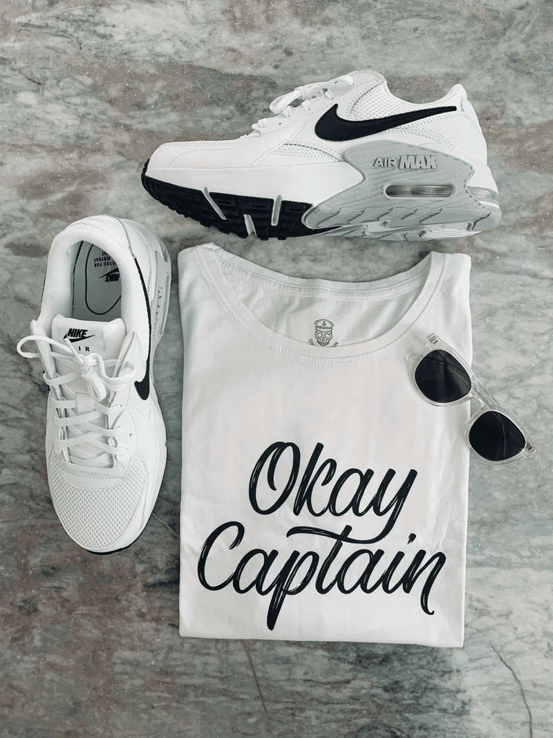 Title Tee - White - Okay Captain