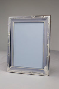 Silver Ribbon & Reeds Mirror Wood Back 11 x 14