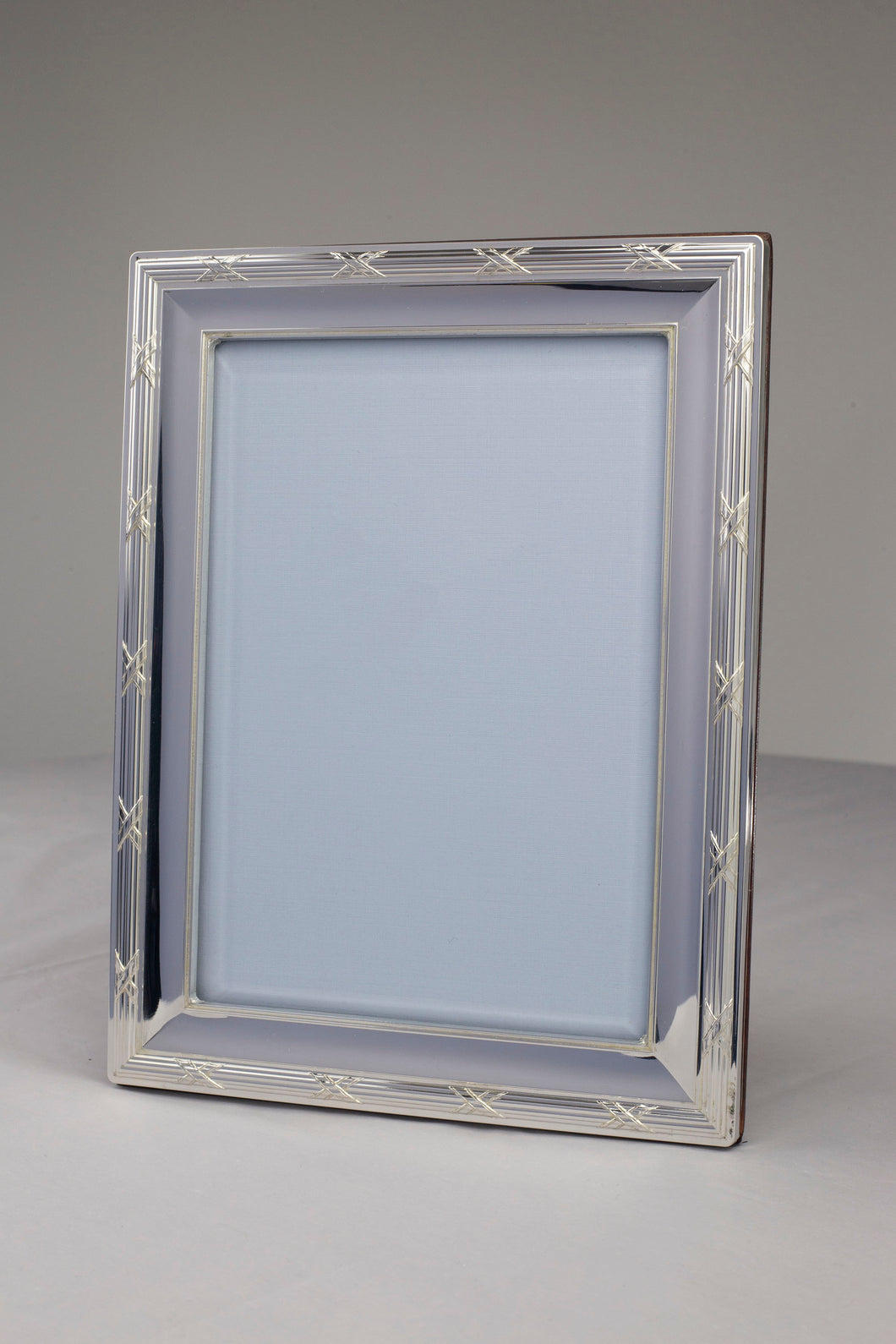 Silver Ribbon and Reeds Frame- Velveteen Back 3.5 x 5