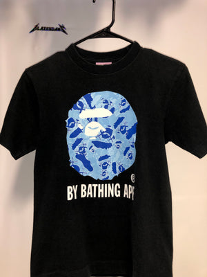 Bape x Kaws Original Face tee Collab Blue camo