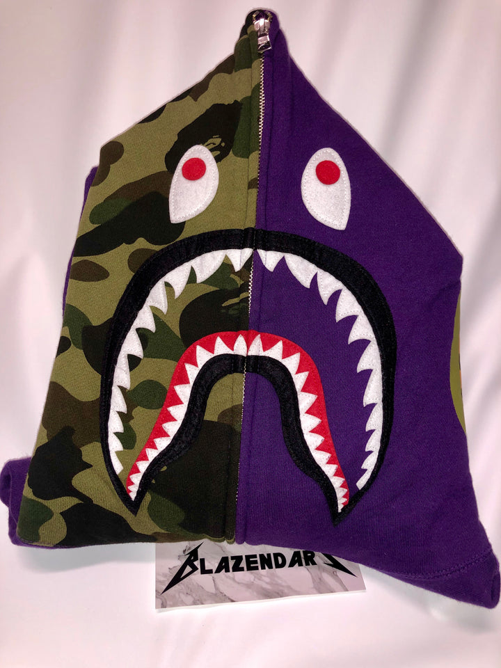 Bape Purple / Green Shark Hoodie size 2XL