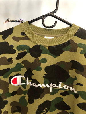 Bape x Champion Green Camo Crewneck