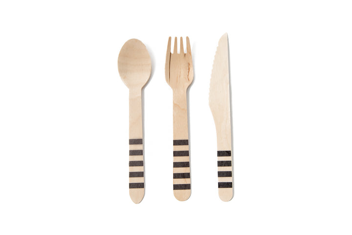 Black Striped Wooden Cutlery Set