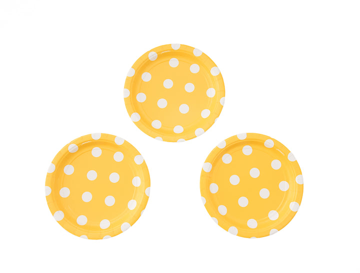 Yellow Polka Dot Dessert Plates