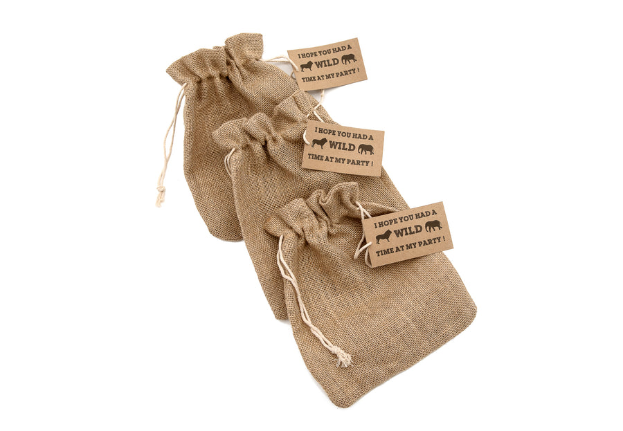 Brown Jute Hessian Drawstring Party Bags with Labels