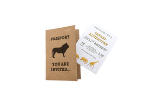 Personalised Passport Party Invites - Safari Theme