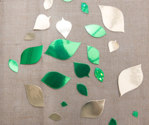 Metallic Green and Gold Leaf Confetti