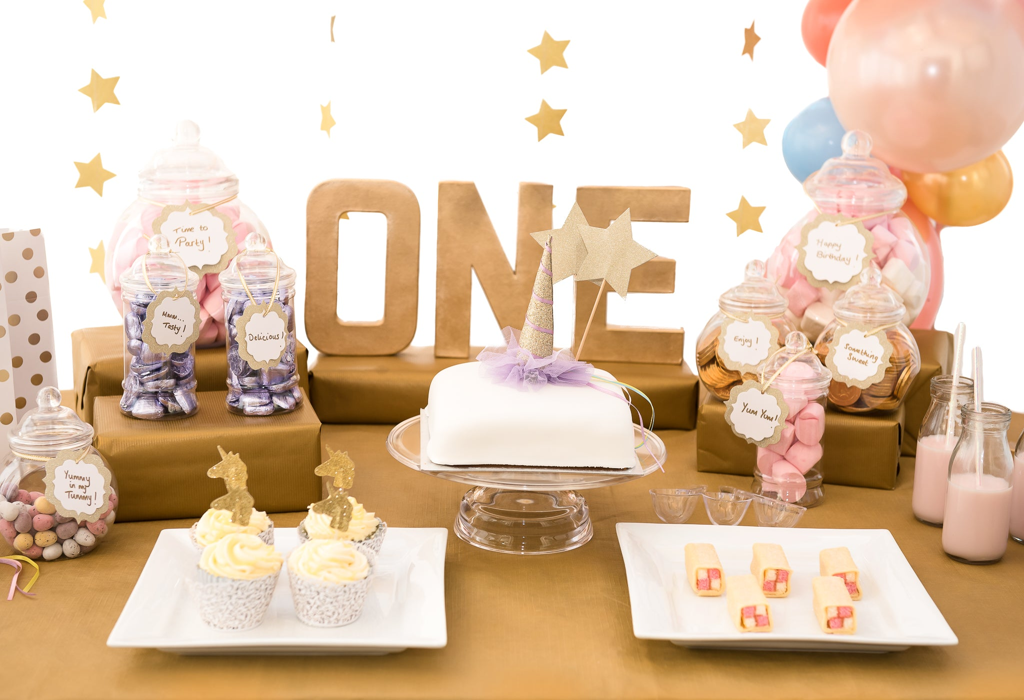 Unicorn Cake Table WrappedinRibbon