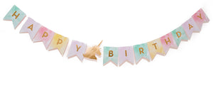 Unicorn pastel flag banner, with gold foiled 'HAPPY BIRTHDAY' lettering.