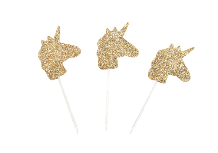 Unicorn Gold Glitter Cupcake Toppers