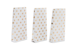 White Metallic Polka Dot Paper Party Bags
