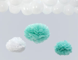 Mint and White Party Pom Poms