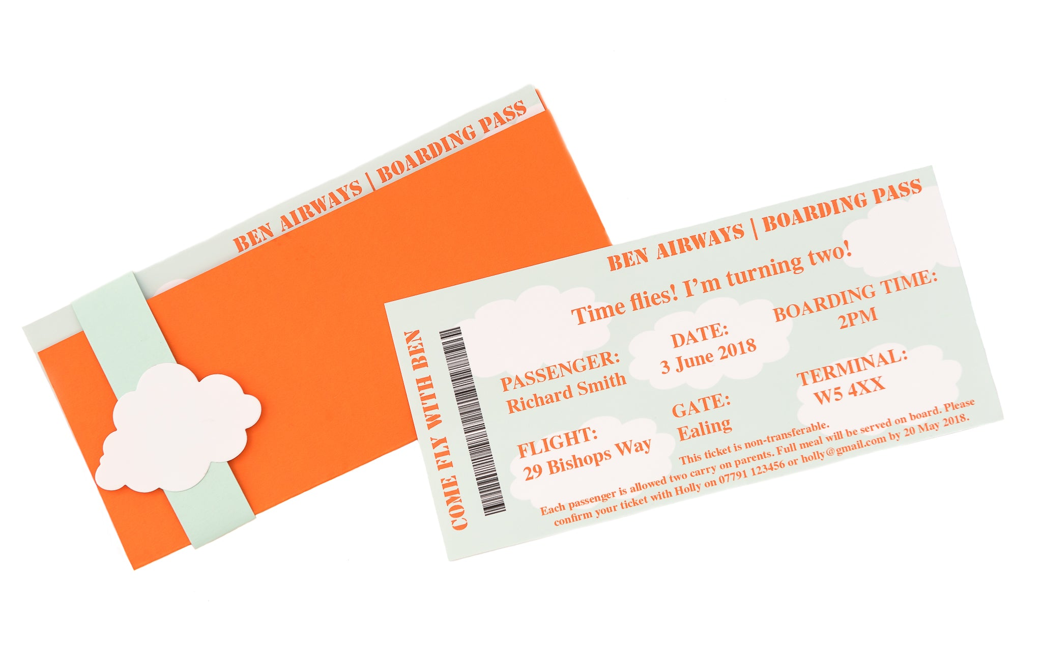 Personalised Airline Ticket Party Invitations – WrappedinRibbon