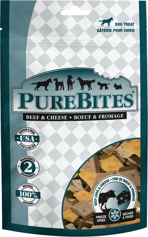 PureBites Beef Liver & Cheese Dog Treats, 4.2oz/120g