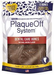 PlaqueOff System, Dental Care Bones, Natural Bacon Flavor, 17oz/482g