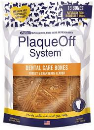 PlaqueOff System Dental Care Bones Turkey&Cranberry Flavor, 17oz/482g
