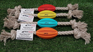 BoxerTUFF Pet Products-Good Clean Fun - HEMP ROPE TUG - FOOTBALL