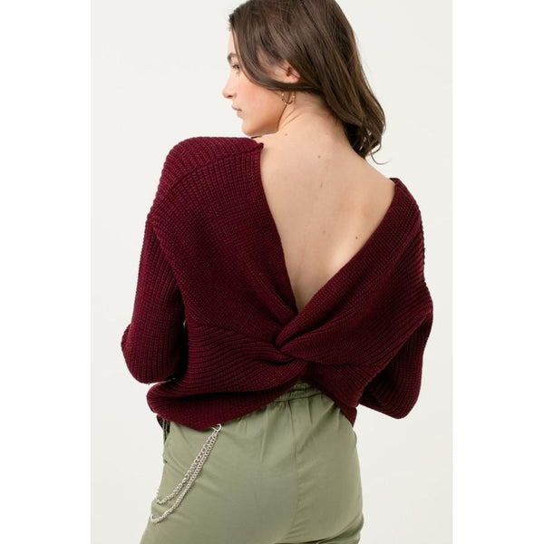 Oversized Twisted Back Sweater