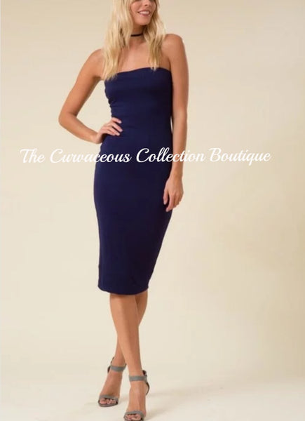 CHRISTIE TUBE BODY-CON JERSEY DRESS-Dresses & Skirts-Navy-Small-